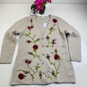 J. Jill Embroidered Wool Blend Cardigan
